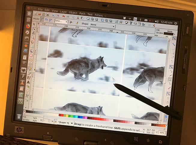 Rotoscoping wolf motion with an old laptop